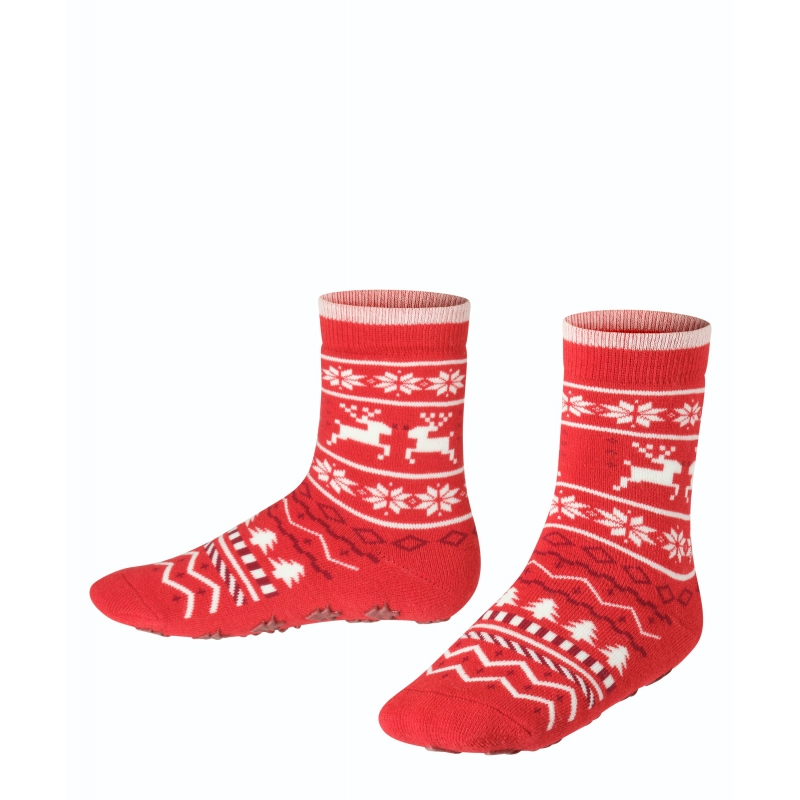 FALKE X-Mas Fair Isle villasegu sokid stopperitega red pepper