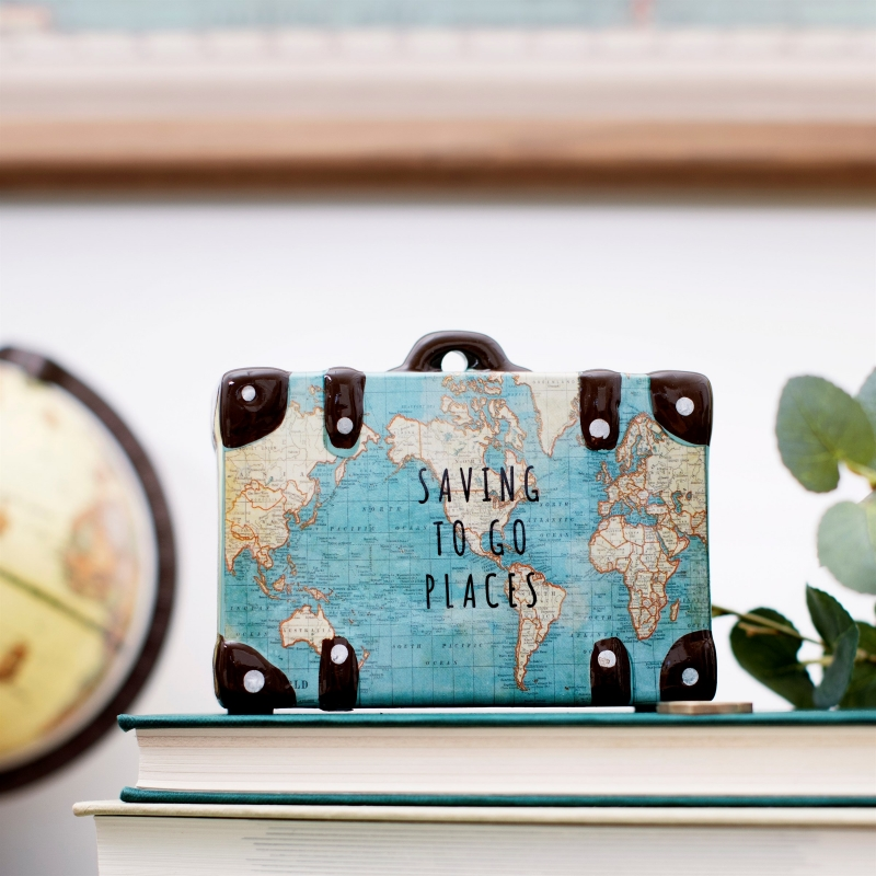 "Sass & Belle Vintage Map ""Saving To Go Places"" rahakassa"
