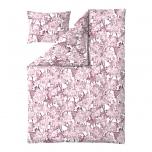 Finlayson Helvi 2-osaline voodipesukomplekt valge-roosa satiin 150x210cm