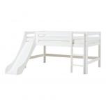Hoppekids PREMIUM poolkõrge voodi liumäe ja püstise redeliga 120x200cm valge