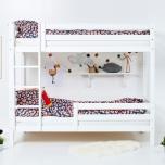Hoppekids PREMIUM kõrge narivoodi püstise redeli ja 1/2 turvapiirdega paindlik voodipõhi 90x200cm valge