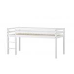 Hoppekids BASIC poolkõrge voodi redeliga, mitte jagatav 90x200cm valge