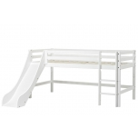 Hoppekids BASIC poolkõrge voodi redel+liumägi, jagatav 90x200cm valge