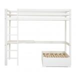 Hoppekids BASIC kõrge voodi+redel+nurgalaud+lounge moodul, jagatav 90x200cm valge