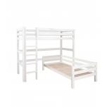 Hoppekids PREMIUM nurgaga kõrge voodi+püstine redel 90x200cm valge