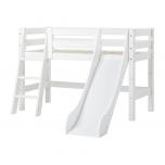 Hoppekids PREMIUM poolkõrge voodi liumäe ja kaldredeliga 70x160cm valge