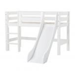 Hoppekids PREMIUM poolkõrge voodi liumäe ja püstise redeliga  70x160cm valge