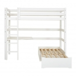 Hoppekids PREMIUM kõrge voodi+püstine redel+nurgalaud+lounge moodul 90x200cm
