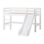 Hoppekids BASIC poolkõrge voodi redel+liumägi, jagatav 70x160cm valge - veebruari pakkumine