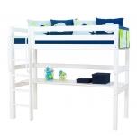 Hoppekids PREMIUM kõrge voodi püstine redel + laud 90x200cm valge