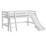 Hoppekids PREMIUM poolkõrge voodi liumäe ja kaldredeliga 90x200cm valge