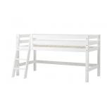 Hoppekids PREMIUM poolkõrge voodi kaldredeliga paindlik voodipõhi 90x200cm valge