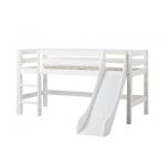 Hoppekids PREMIUM poolkõrge voodi liumäe ja püstise redeliga 90x200cm valge