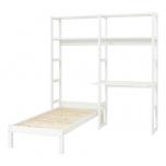 Hoppekids STOREY riiul 2 sektsiooni 4 riiulit+laud 80cm+voodi 70x160cm