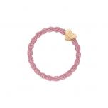 ByEloise kuldse südamega roosa juuksekumm/käevõru