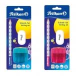 Pelikan harilik pliiats + kustukumm + teritaja sinine või roosa