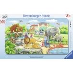 Ravensburger plaatpusle 15 tk Reis loomaaeda 3+