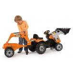 Smoby traktor Builder max saha ja kopaga +käru