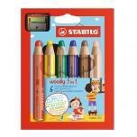 Stabilo Woody värvipliiats 6 värvi + teritaja