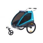 THULE lastekäru Chariot Coaster XT (Cycle/Stroll) kahele lapsele Blue