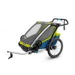 THULE lastekäru Chariot Sport2 kahele lapsele Chartreuse/Mykonos
