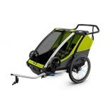 THULE lastekäru Chariot Cab2 kahele lapsele, Chartreuse/Dark Shadow